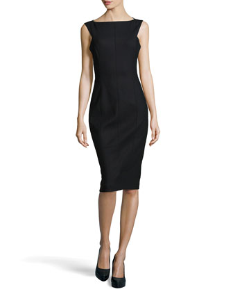 Stretch Wool Fitted Sheath Dress, Black