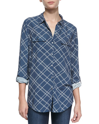 Onyx Plaid Button-Front Blouse