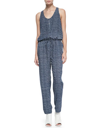 Biltmore Printed Sleeveless Jersey Jumpsuit
