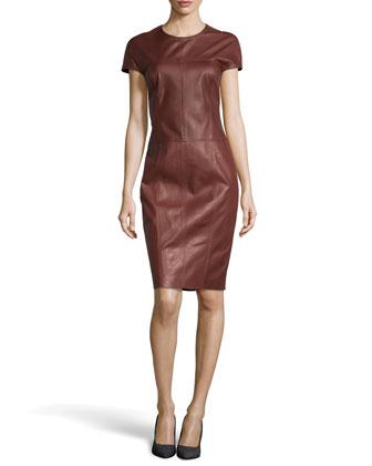 Leather Short-Sleeve Dress, Sienna Brown