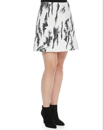 Teresa Printed A-Line Crepe Skirt