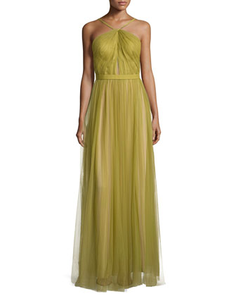 Mesh Halter-Neck Gown