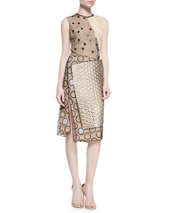 Leather-Trim Multi-Dot Dress, Gold