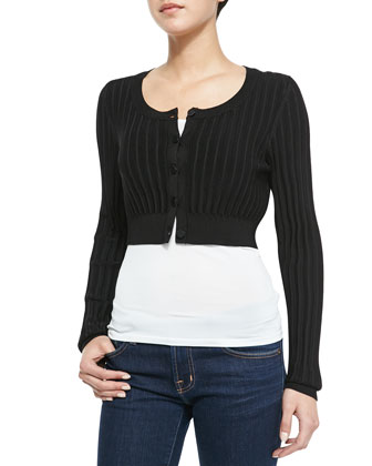 Ribbed Cropped Cardigan, Black