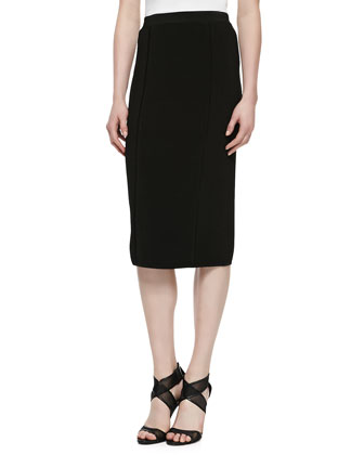 Over-the-Knee Pencil Skirt, Black