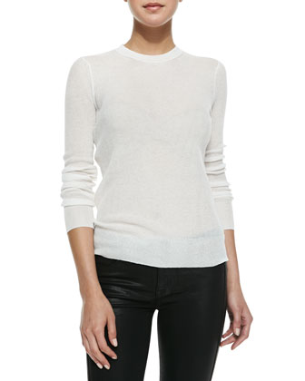 Long-Sleeve Sheer Ribbed Pullover, Ivory