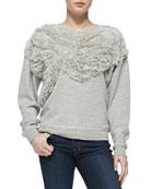 Chiffon Embellished Sweatshirt