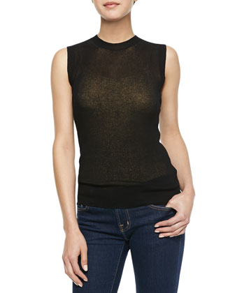 Sleeveless Sheer Ribbed Pullover, Black