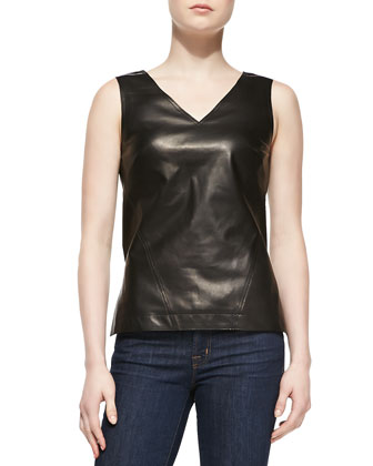 Sleeveless V-Neck Lambskin Leather Shell