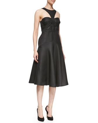 Racer-Front Cocktail Dress, Black