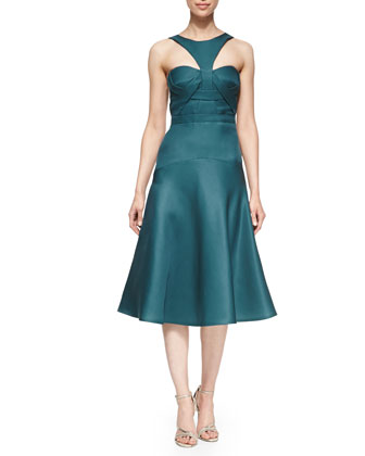 Racer-Front Cocktail Dress, Sapphire