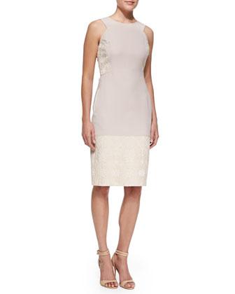 Jacquard & Crepe Sheath Dress