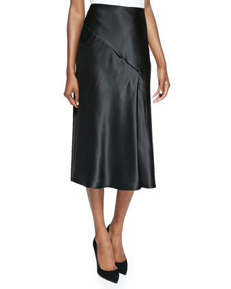 Silk Charmeuse Bias Cut Skirt, Black