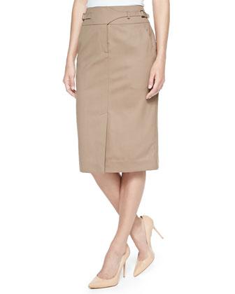 Gabardine Utility Skirt, Tobacco