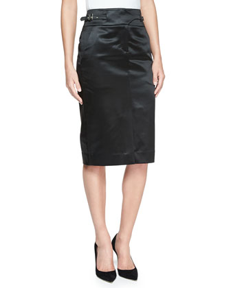 Satin Finish Utility Skirt, Black