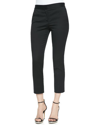 Sleeveless Circle-Cutout Leather Top and Cropped Skinny Pants