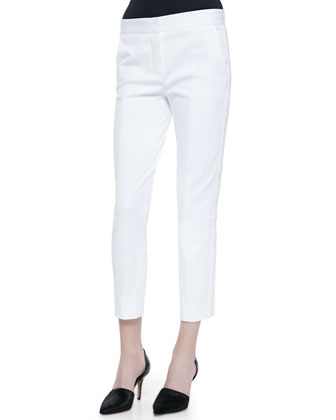 Cropped Skinny Pants, White