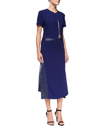 Short-Sleeve Asymmetric Dress with Leather Trim