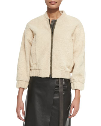 Shearling Fur Bomber Jacket, Nude
