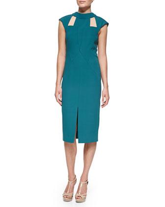 Cutout Cap-Sleeve Dress, Sapphire