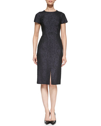 Jacquard Sheath Dress with Front Slit
