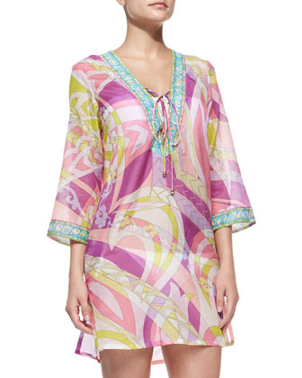 Lace-Up-Front Voile Coverup