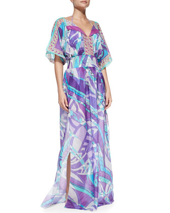Long Printed Maxi Coverup