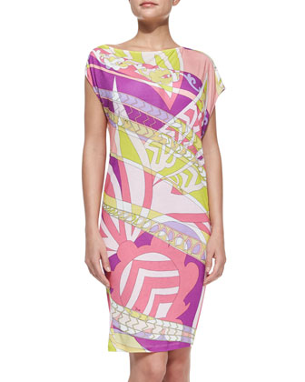 Printed Slub-Jersey Coverup Dress