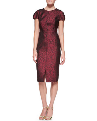 Jacquard Dress with Leather Back