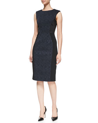 Mixed-Media Sheath Dress