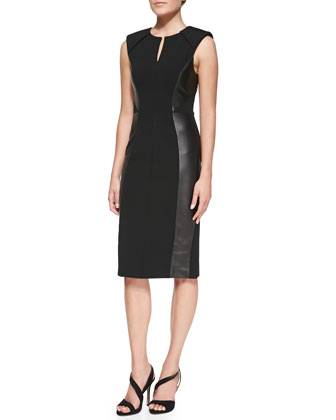Leather-Paneled Sheath Dress