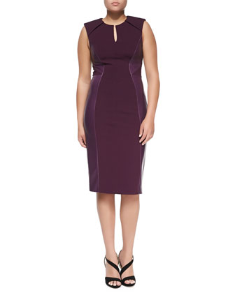 Leather-Paneled Sheath Dress, Plum