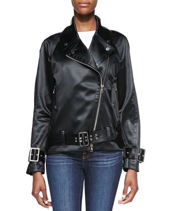 Satin Finish Motorcycle Jacket, Black
