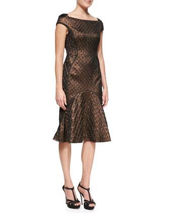 Cap-Sleeve Flared-Skirt Dress, Bronze