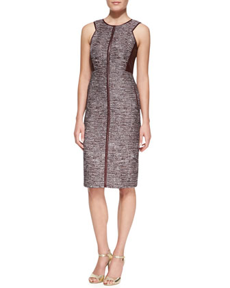 Sleeveless Sheath Dress with Leather Panels