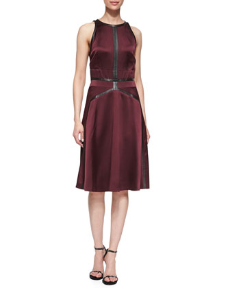 Sleeveless Flared Dress with Leather Trim, Port Wine