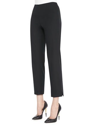 Twill Slim Ankle Pants, Black, Petite