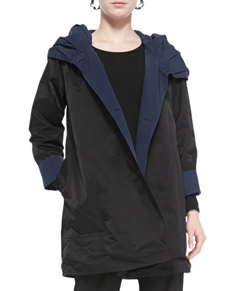 Reversible Hooded Rain Coat, Long-Sleeve Slim Jersey Top & Twill Slim Ankle ...