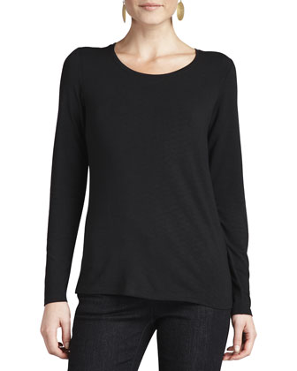 Long-Sleeve Slim Jersey Top, Black, Women's