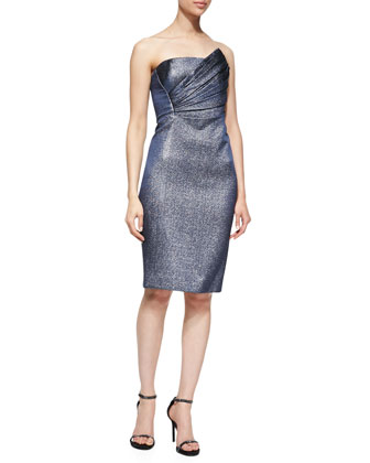 Strapless Dress with Asymmetric Pleated Bodice, Eclipse