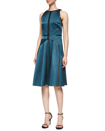 Sleeveless Flared Dress with Leather Trim, Sapphire