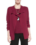 Silk-Cotton Interlock Jacket, Red, Petite