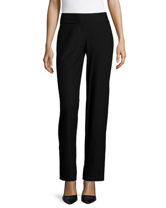 Washable Crepe Modern Wide-Leg Pants, Black