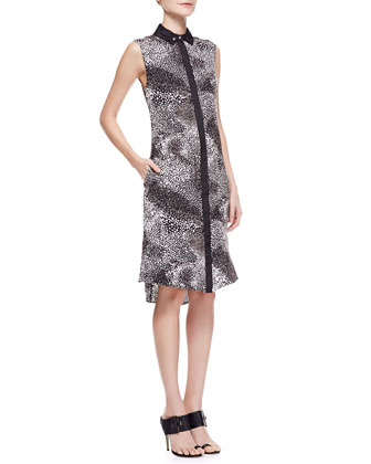 Sleeveless Printed Silk Shirtdress, Black
