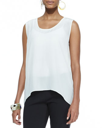 Sleeveless Long Silk Top, Soft White, Women's
