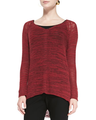Slub-Knit V-Neck Tunic