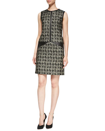 Sleeveless Houndstooth & Leather Dress