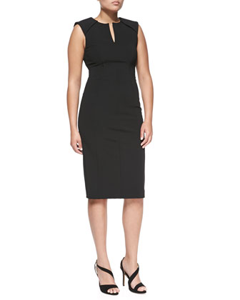 Sleeveless Caftan-Neck Sheath Dress, Black