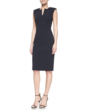 Sleeveless Caftan-Neck Sheath Dress, Midnight