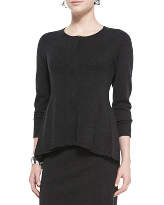 Merino Zip-Front Peplum Jacket, Cap-Sleeve Tee, Knee-Length Wool Skirt & ...